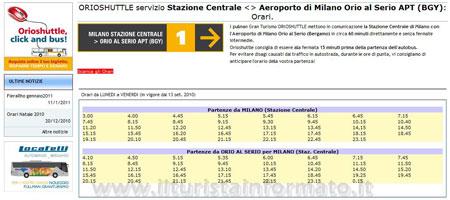 Orioshuttle orari Milano Bergamo