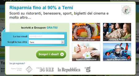 homepage Groupon email da inserire