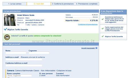 Scheda di prenotazione su Booking.com