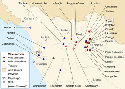 Mappa delle Ville Medicee