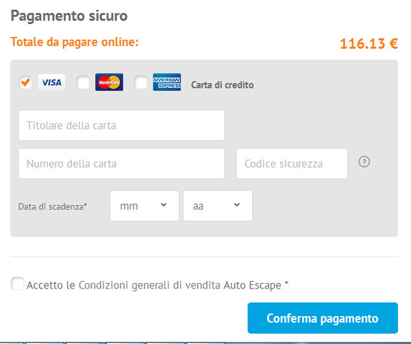 Pagamento su Autoescape.it