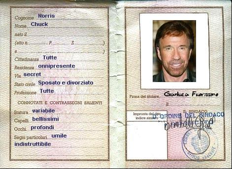 carta identità Chuck Norris