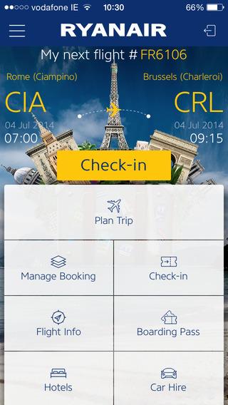 Le diverse funzioni dell'App Ryanair