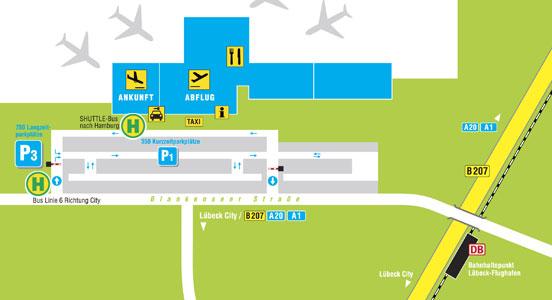 Aeroporto Lubecca Mappa