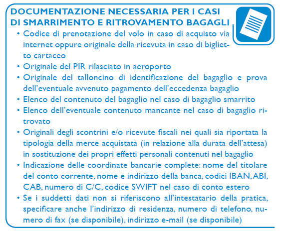 Documenti necessari in caso di smarrimento