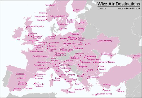 Destinazioni WizzAir