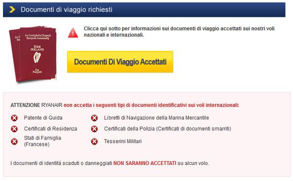 Documenti accettati da Ryanair