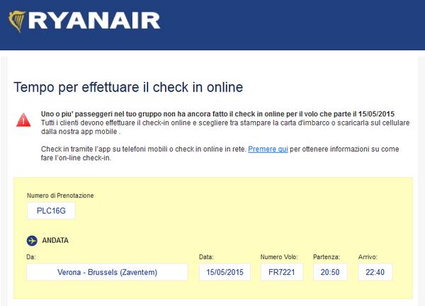 Promemoria CheckIn Ryanair
