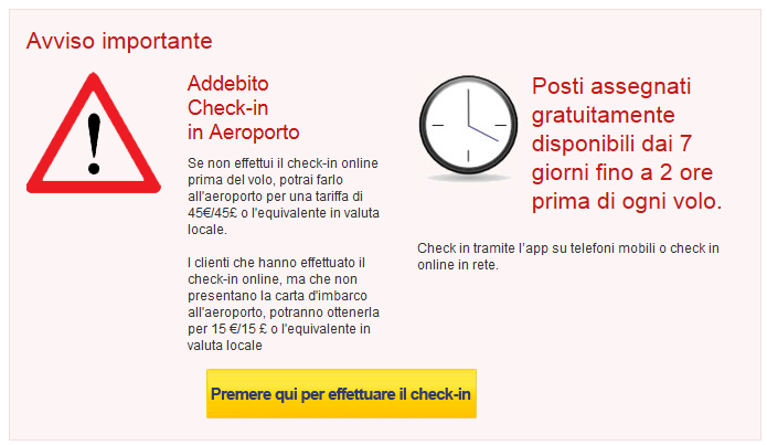 Ryanair Addebito Check in
