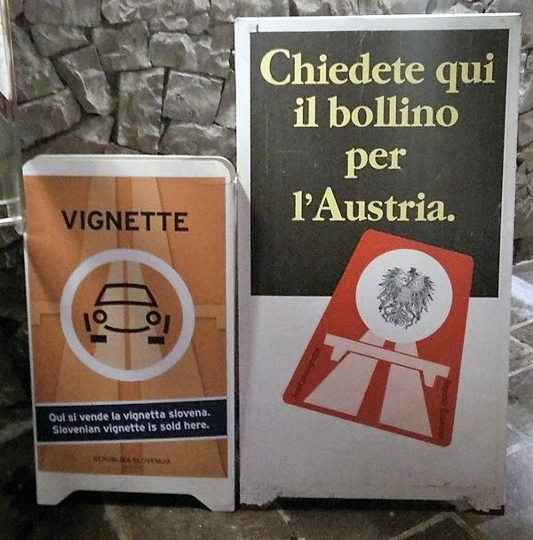 Cartello Vignette Autogrill Italia