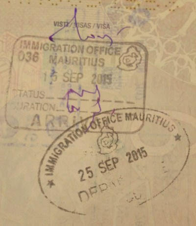 Timbri visto Mauritius