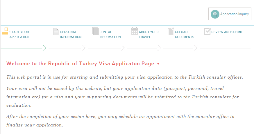 Turkey Visa Application Page