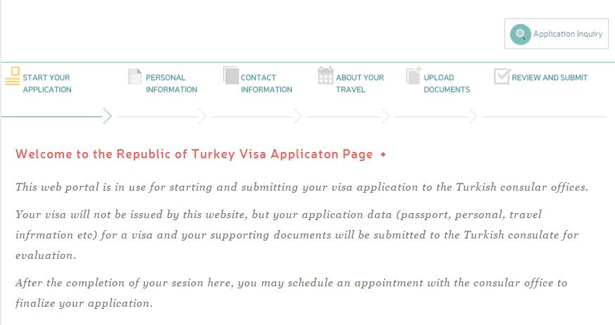 Turkey Visa Application Page