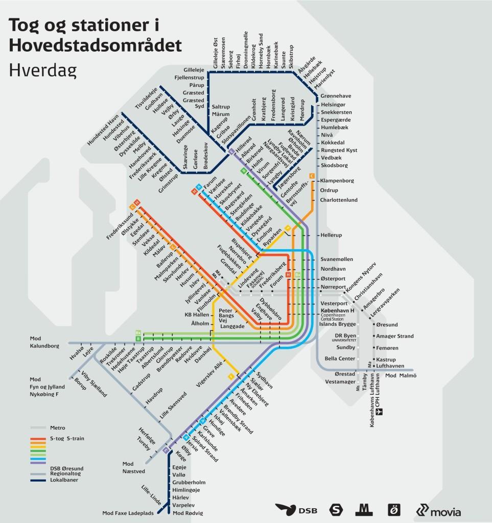 Mappa Metro e Treno Copenaghen