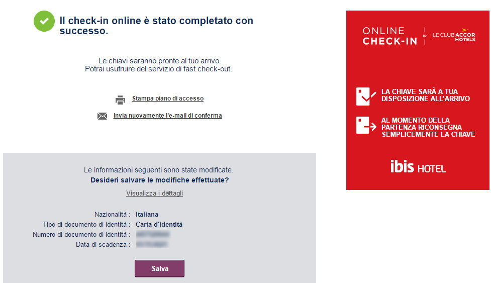 check in online ibis hotel completato