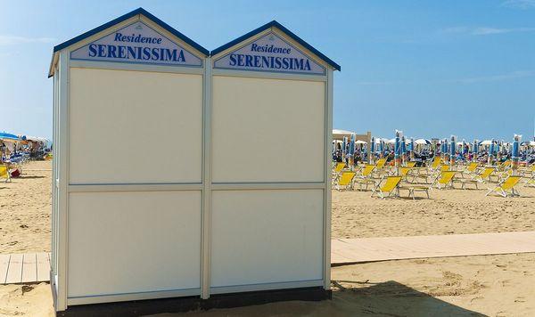 Vacanza in appartamento a Bibione - cabine in spiaggia